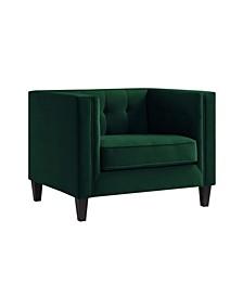 Lotte Velvet Button Tufted Square Club Chair