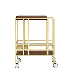 Ron Serving Bar Cart with Metal Frame and Casters