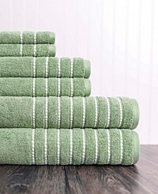 Burke 6 Piece Solid Towel Set With Dotted Border