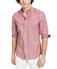 Men's Red Striped Yarn Dyed Shirt
