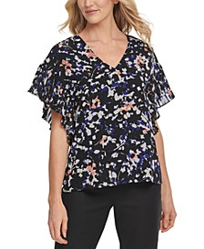Printed Pleated-Sleeve V-Neck Top