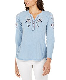 Petite Cotton Embroidered Split-Neck Top, Created for Macy's