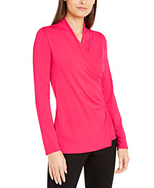 Alfani Faux-Wrap Knit Top, Created for Macy's