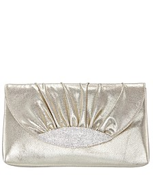 Kerri Ruched Satin Crystal Embellished Flap Clutch