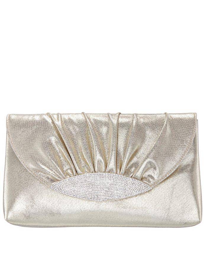 Nina - Ruched Satin Crystal Embellished Flap Clutch