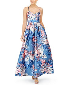 Crisscross-Back Floral-Print Gown