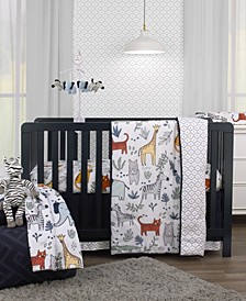 Safari Party 4-Piece Crib Bedding Set