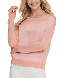 Satin-Front Sweater