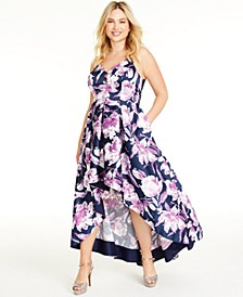 Trendy Plus Size Floral Gown