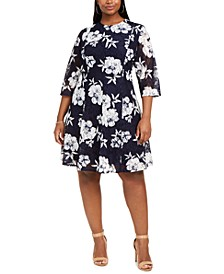Plus Size Floral Lace Fit & Flare Dress