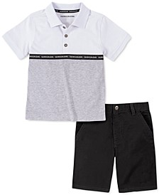 Toddler Boys 2-Pc. Colorblocked Logo Tape Polo Shirt & Twill Shorts Set