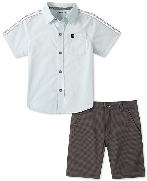Calvin Klein Little Boys 2-Pc. Logo Tape Poplin Shirt & Houndstooth Twill Shorts Set
