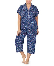 Plus Size Short Sleeve Top & Capri Pajama Set