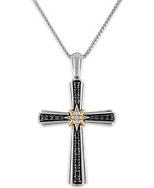"Men's 1/2 Carat Black and White Diamond Pendant 22"" Chain in Sterling Silver and 10k Yellow Gold"