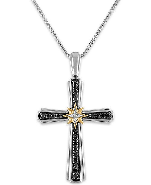 """Macy's Men's 1/2 Carat Black and White Diamond Pendant 22"""" Chain in Sterling Silver and 10k Yellow Gold"""