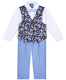 Baby Boys 4-Pc. Shirt, Printed Vest, Pants & Bow Tie Set