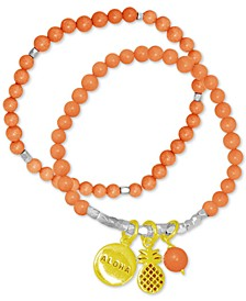 2-Pc. Set Pineapple Charm & Beaded Stretch Bracelets