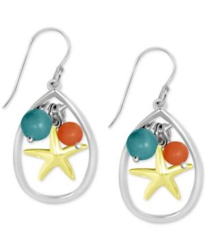 Starfish & Bead Teardrop Earrings in Fine Silver-Plate
