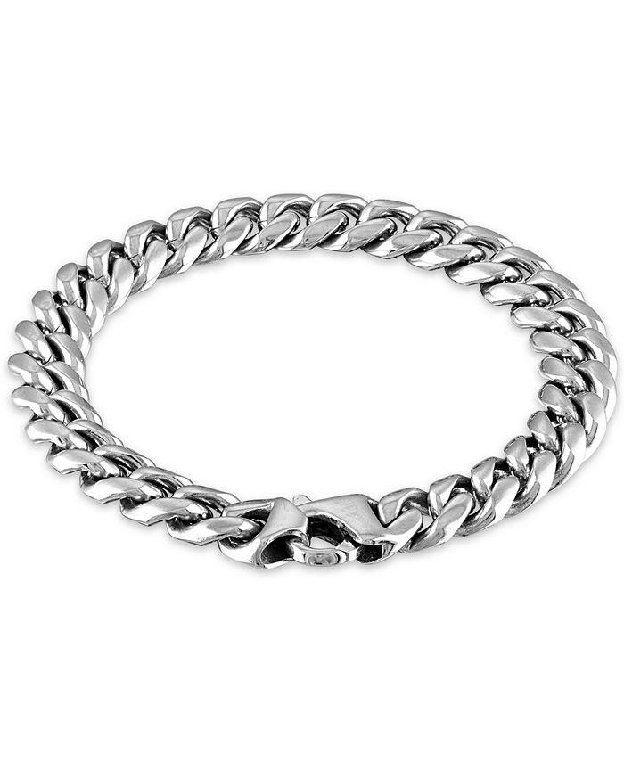 """Macy's - Men's Cuban Link (10mm) 8 1/2"""" Chain Bracelet in Stainless Steel"""