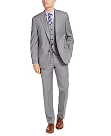 Men's Classic-Fit Airsoft Stretch Gray Sharkskin Suit Separates