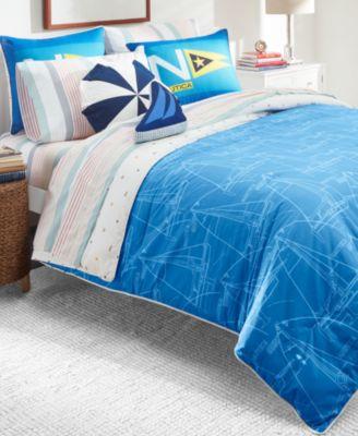 Kids Sailboat Blueprint 3-Piece Full Comforter Set