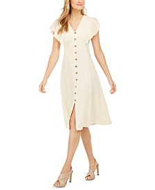 Button-Trim A-Line Dress