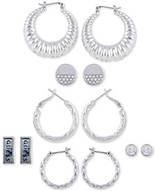 Silver-Tone 6-Pc. Set Crystal & Stone Earrings