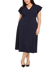 Plus Size Button-Trim A-Line Dress