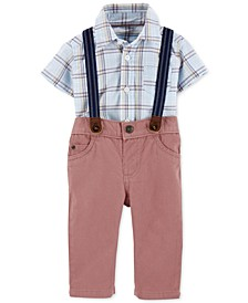 Baby Boys 3-Pc. Plaid Bodysuit; Twill Pants & Suspenders Set