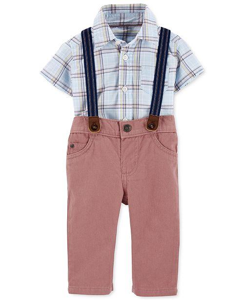 Carter's Baby Boys 3-Pc. Plaid Bodysuit; Twill Pants & Suspenders Set