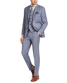 Men's Classic-Fit UltraFlex Stretch Light Blue Plaid Suit Separates