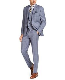 Men's Classic-Fit UltraFlex Stretch Light Blue Plaid Suit Separates