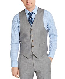 Men's Classic-Fit UltraFlex Stretch Light Gray Sharkskin Suit Vest
