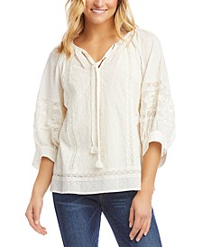 Cotton Lace-Trim Peasant Top