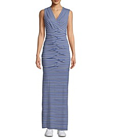 Pleated Twist-Front Striped Dress
