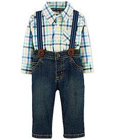 Baby Boys 3-Pc. Suspenders, Plaid Bodysuit & Jeans Set