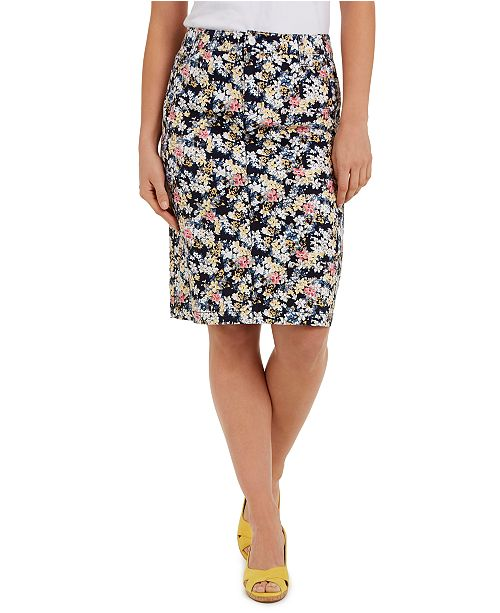 Charter Club Floral-Print Denim Tummy-Control Skirt, Created for Macy's