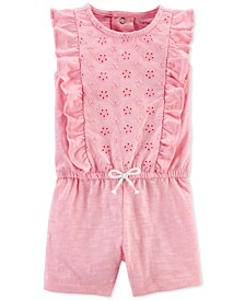 Baby Girls Ruffled Textured Cotton Romper
