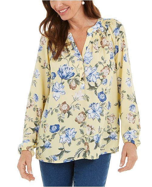 Charter Club Floral-Print Georgette Blouse, Created For Macy's