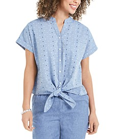 Petite Dot-Print Tie-Front Cotton Top, Created For Macy's