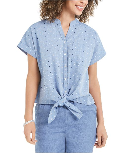 Charter Club Cotton Embroidered Tie-Front Shirt, Created For Macy's