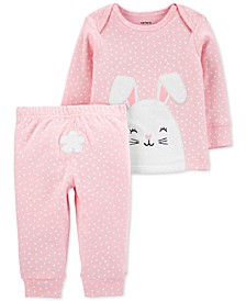 Baby Girls 2-Pc. Cotton Bunny T-Shirt & Pants Set