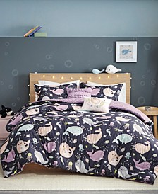 Magical Narwhals Reversible 5-Piece Full/Queen Coverlet Set