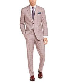Men's Classic-Fit Light Red Windowpane Suit Separates