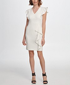 V-Neck Cap Sleeve Sheath with Ruffle Detail