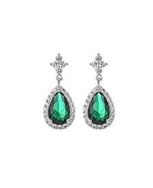 Silver-Tone Emerald Accent Tear Drop Earrings
