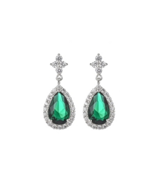 A & M Silver-Tone Emerald Accent Tear Drop Earrings