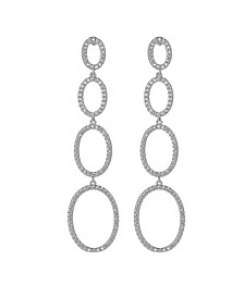 Silver-Tone Quad Oval Drop Earrings