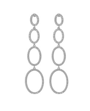 A & M Silver-Tone Quad Oval Drop Earrings