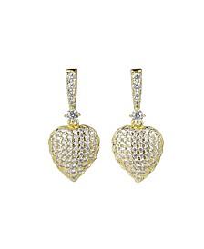 Gold-Tone Heart Drop Earrings